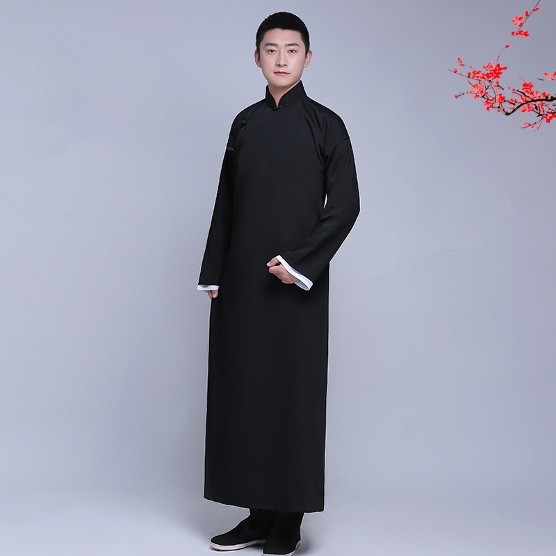 New arrival male cheongsam Chinese style costume cotton Male Mandarin jacket long gown traditional Tang suit dress men