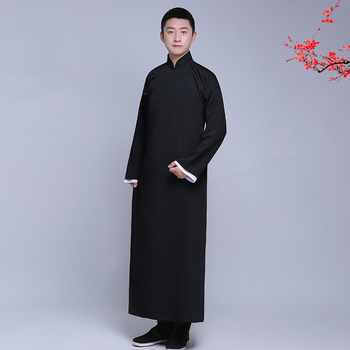 New arrival male cheongsam Chinese style costume cotton Male Mandarin jacket long gown traditional Chinese Tang suit dress men chinese tradtional costume men s cotton suit jacket coat size m 3xl