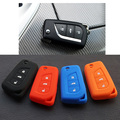 Silicone car key fob cover case shell set holder for Toyota Corolla Prado Fortuner RAV4 folding flip Remote Protect accessories