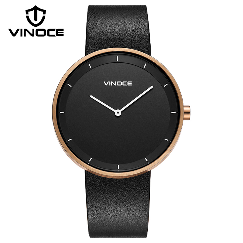 VINOCE Mens Watches Black Fashion Leather Strap Male Wrist Watch Luxury Quartz Watch Men Clock 2018 New Relogio Masculino #9649 vinoce mens watches black fashion leather strap male wrist watch luxury quartz watch men clock 2018 new relogio masculino 9649
