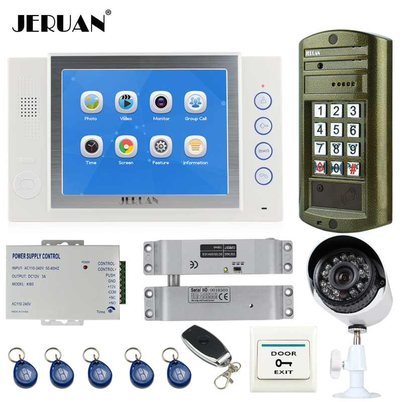 JERUAN NEW 8 inch TFT LCD Color Video Door Phone Intercom System kit Metal Waterproof Access password keypad HD Mini Camera 2V1 jeruan 8 inch tft video door phone record intercom system new rfid waterproof touch key password keypad camera 8g sd card e lock