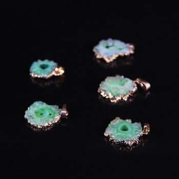 5 unids/lote crudo cuarzo verde Geode de bloque, cuentas para pendientes Natural Druzy ágatas joyas libre colgante de trozo collar de la joyería