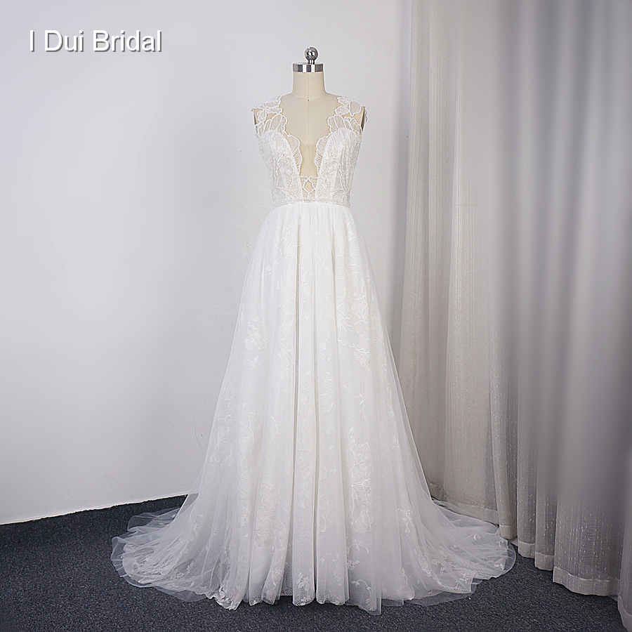 Floral Lace Wedding Dress A Line Beaded Plunging Neckline Lace Layer Bridal Gown Factory Custom Make