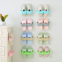 5pcs/set Shoe Rack Wall Slippers Hanging Shelf Shoes Cabinet Bathroom Display Holder Shoe Storage Organizer(China)