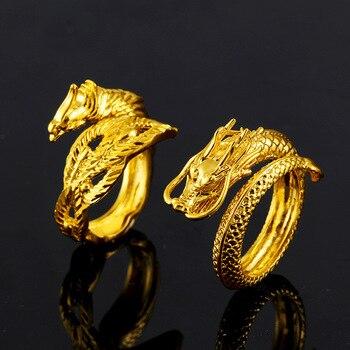 7c942b7b0 Vietnam aluvial oro dragón Phoenix parejas anillos de boda ajustable  joyería al por mayor