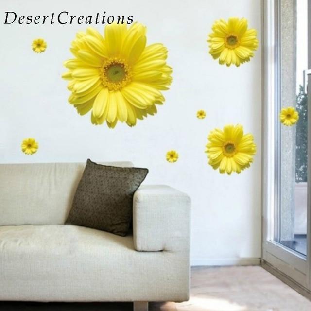 yellow flowers decorative combination diy wall sticker decor