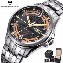 PAGANI DESIGN Fashion Casual Brand Man Watch Stainless Steel 30M Waterproof Quartz Sport Hollow Calendar Relogio Masculino