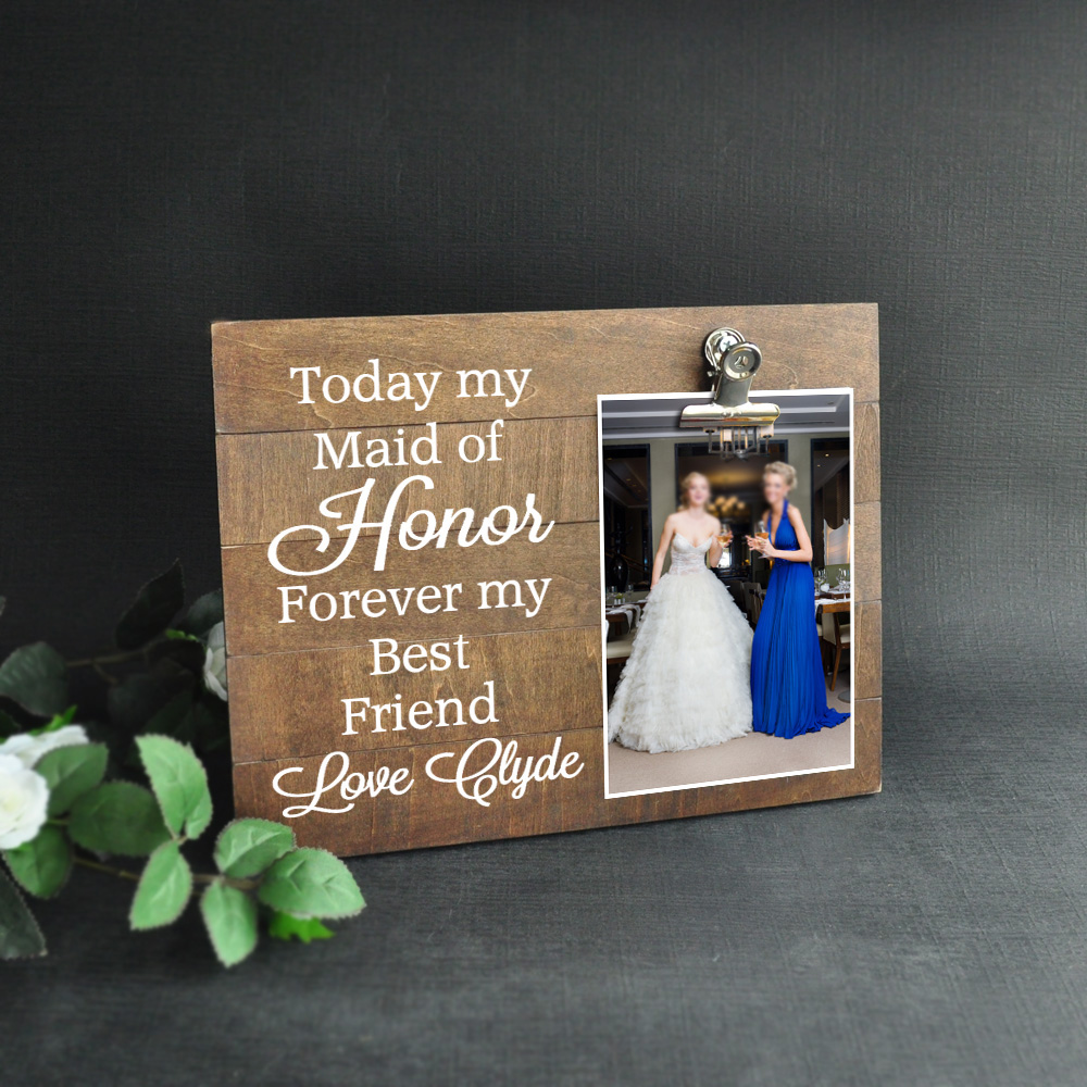 Personalised Photo Frame Wedding Gift: Personalized Bridesmaid Picture Frame, 6x4 Photo Frame