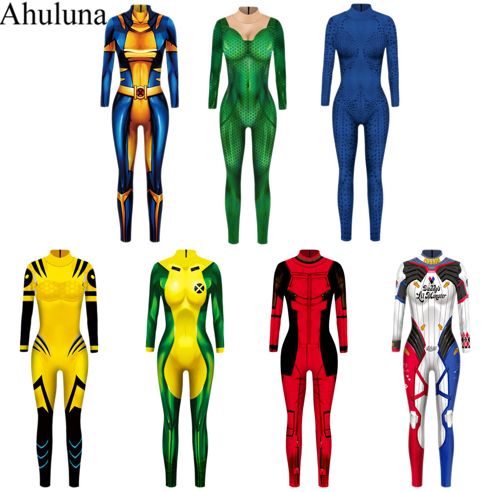 7 Colors X MEN Anna Marie Rogue Cosplay Costume For Women Zentai Bodysuit Suit Jumpsuits For Halloween Party C129