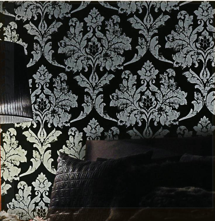 Fashion Gilding Printed Damask Wallpaper Design Leather