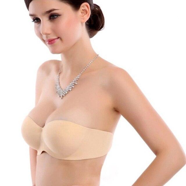 Women sticky side seamless bra push up bras adhesive strapless ...