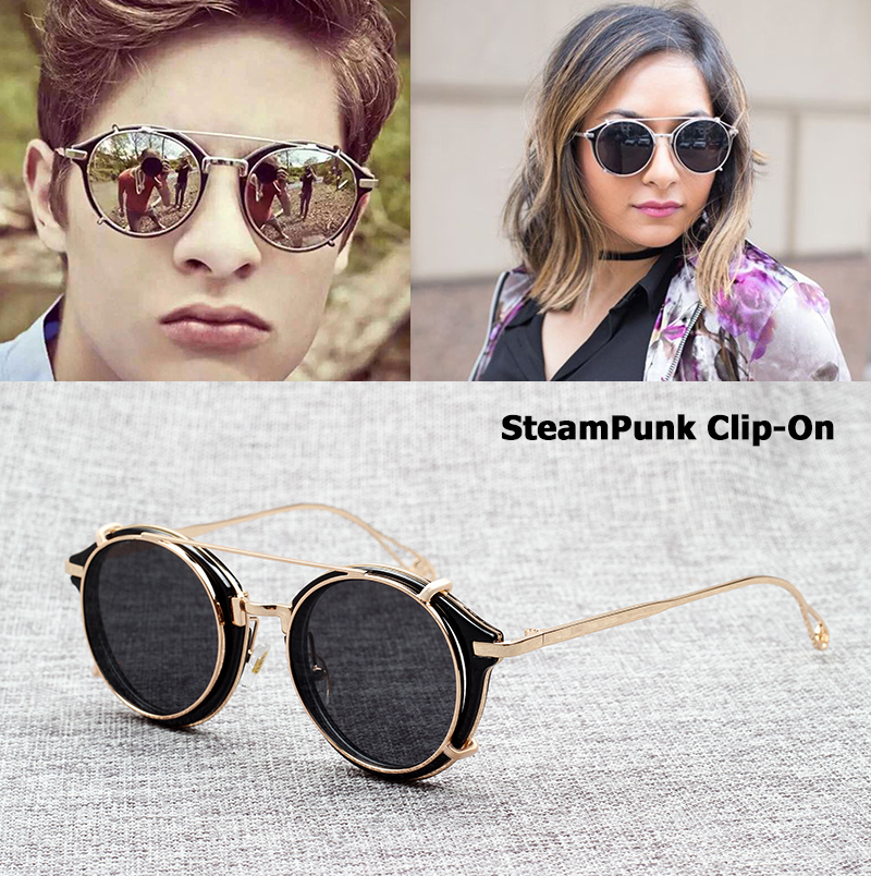 JackJad 2018 Fashion SteamPunk Style Lens Removable Solglasögon Clip On Vintage Märke Design Sun Glasses Oculos De Sol S915-1