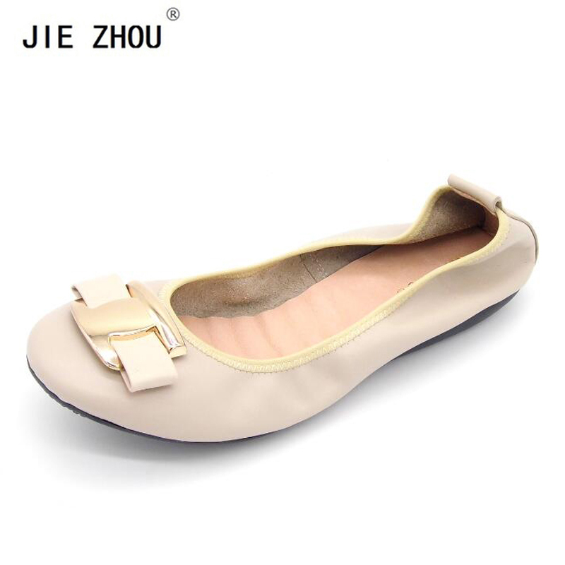 New 2019 Women Genuine Leather Shoes Slip On Women Ballet Flats Round Toe Casual Women shoes