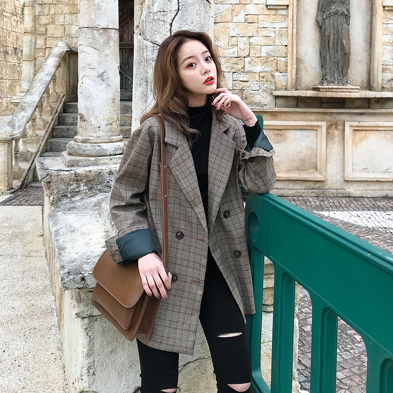 Image 5 - Vintage Double Breasted Office Ladies Plaid Blazer Long Sleeve Loose  Retro Suits Coat Jacket Women blazers Female 2019-in Blazers from Women's Clothing