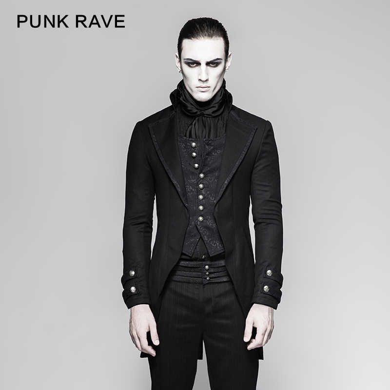 06ff22604c9d PUNK RAVE Gothic Vintage Victorian Fake Two-Pieces Brocade Long Jacket  Embroidery Buttoned Dovetail Men