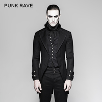 PUNK RAVE Gothic Vintage Victorian Fake Two Pieces Brocade Long Jacket Embroidery Buttoned Dovetail Men Coats Festival Party