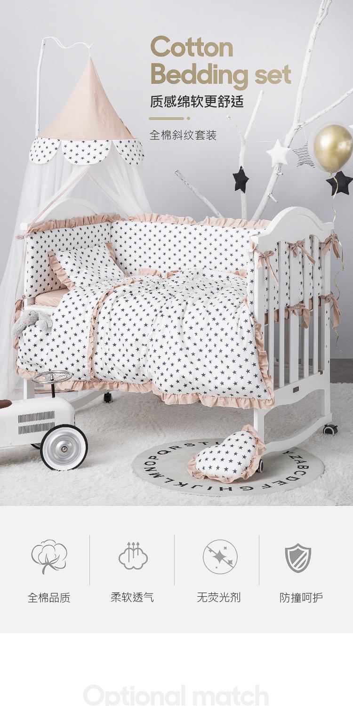 Luxe Baby Nursery 3PCS ensemble de literie pare-chocs oreiller couette Fit Cotbed 140x70cm