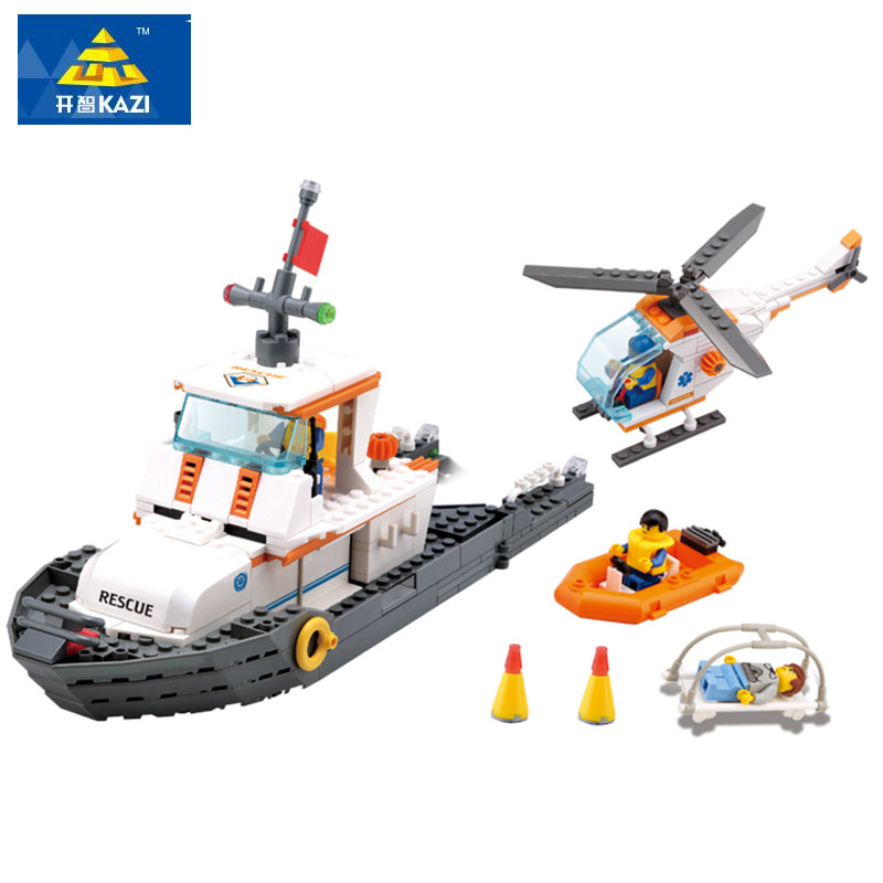 2017 KAZI Maritime rescue team Building Block 433pcs DIY bricks Model Compatible all brands Educational toys gift for children lepin 22001 pirate ship imperial warships model building block briks toys gift 1717pcs compatible legoed 10210