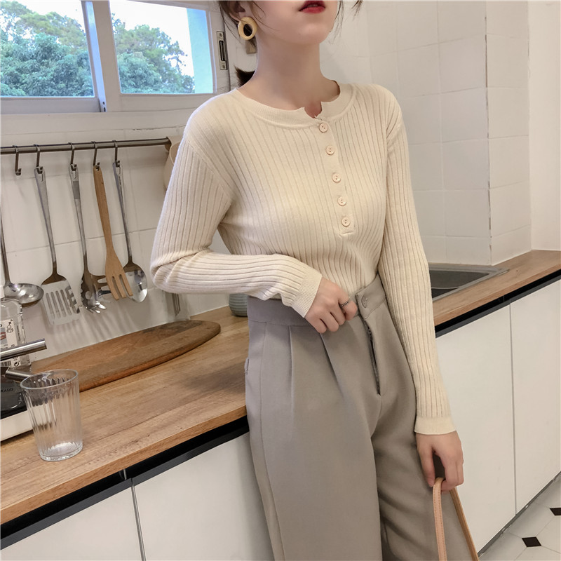 Colorfaith Women Pullovers Sweater New 19 Knitted Autumn Winter Spring Fashion Sexy Elegant Buttons Casual Ladies Tops SW9065 18