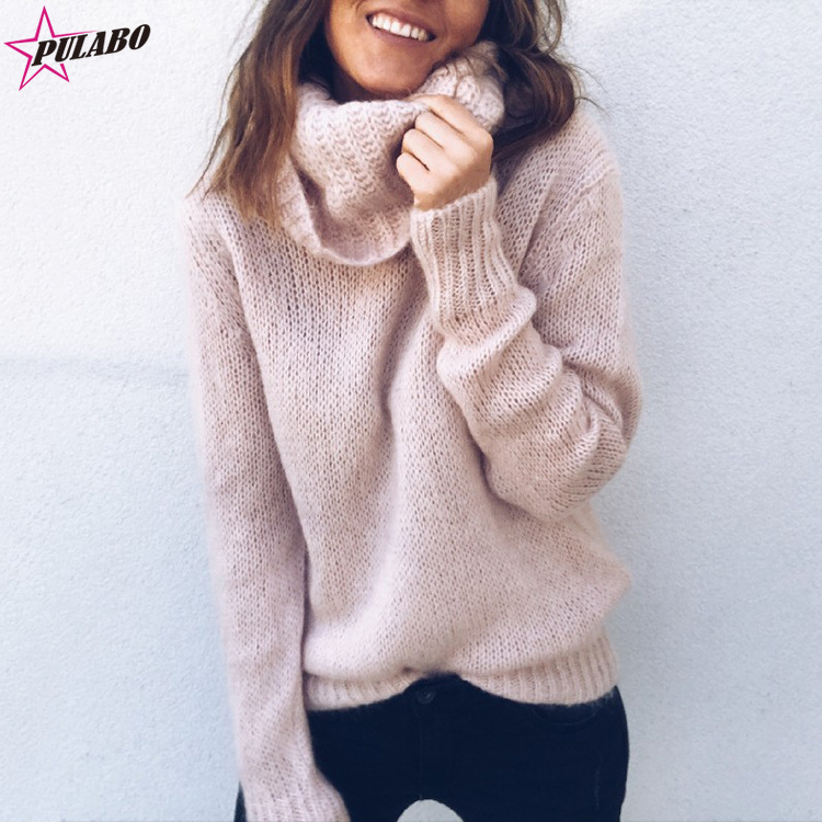 2019 New Women Sweater Autumn Winter Popular Style Solid Color Long-sleeved  Turtleneck Knitted Sweater 0c3f2d7dd18d