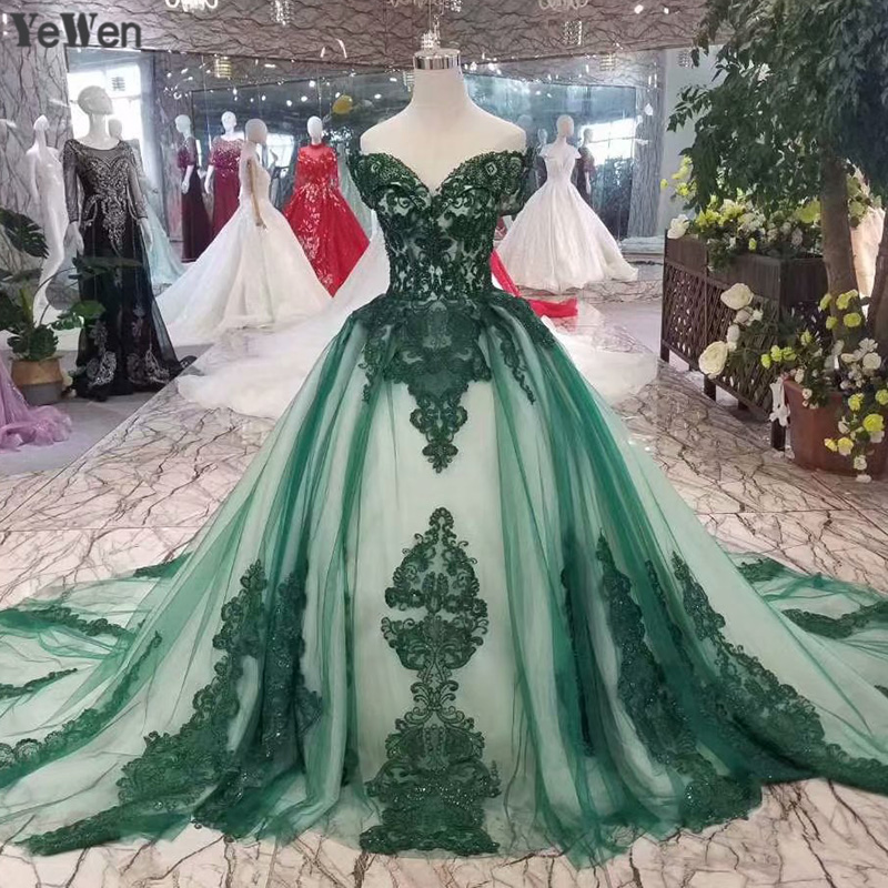 Green Strapless Elegant Lace Wedding Dresses Backless