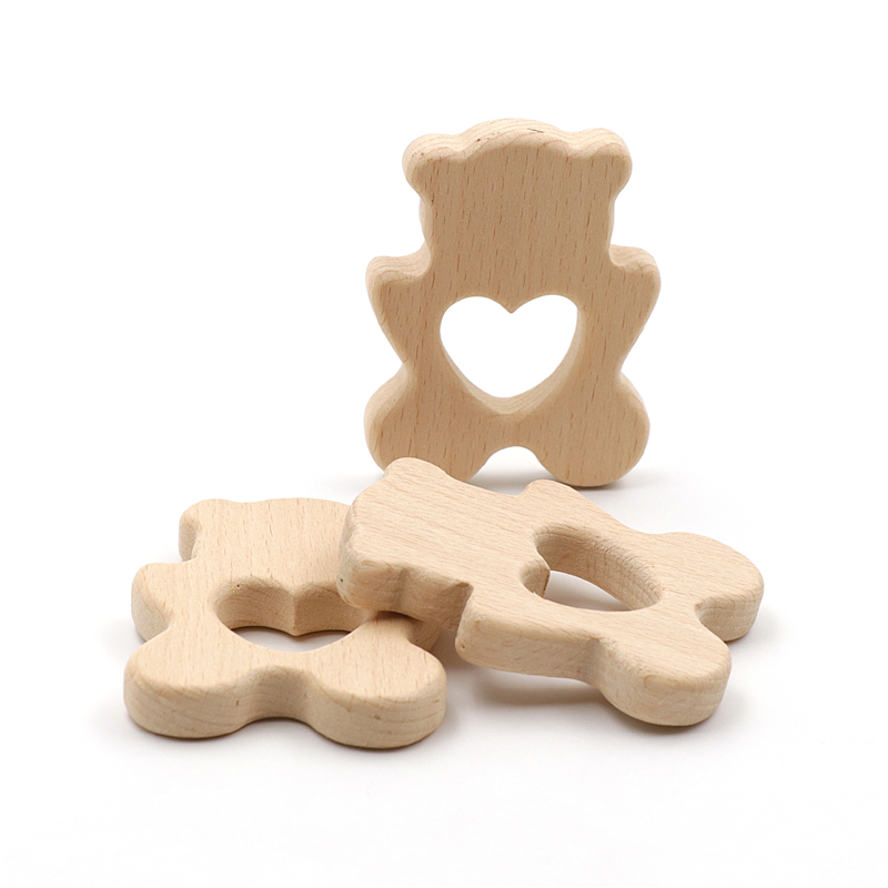 JOJOCHEW 2pcs Beech Wood Teether Lovly Bear Food Grade Wooden Teether Charms Teething Necklace Natural Wood Made