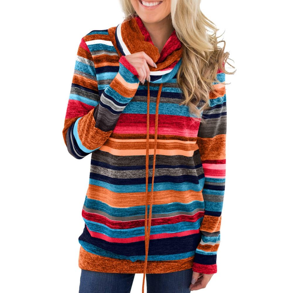 Sweatshirts Women Long Sleeve Hoodie Pullovers Basic Hoodies Colorful Striped Winter Sweatshirt Ladies Hoodie Rainbow Streatwear in Hoodies amp Sweatshirts from Women 39 s Clothing