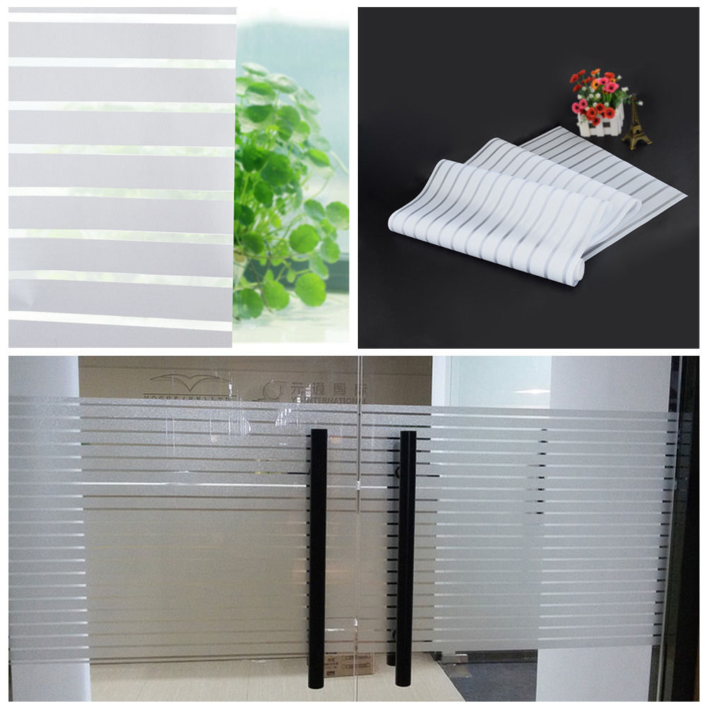 Glass Window Film Privacy Frosted Modern Stripe Self