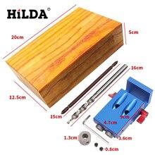 HILDA Pocket Hole Jig Kit System For Wood Working & Joinery + Step Drill Bit & Accessories Mini Kreg Style Wood Work Tool Set