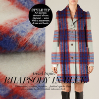 England Red Grid Europe And The United States Wool Flannel Autumn Winter Coat Senior Fashion Apparel