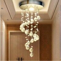 Decoração da casa lâmpada led moderna espiral lustre de cristal para casa entrada escada corredor lâmpada do teto pendurado