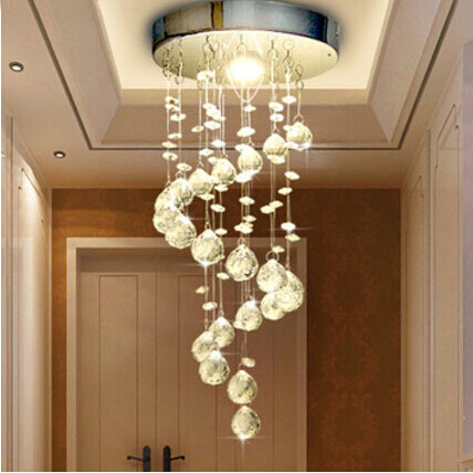 Modern Spiral Crystal Chandelier For Home Entrance Stair Staircase Aisle Corridor Ceiling Hanging Lamp Decoration