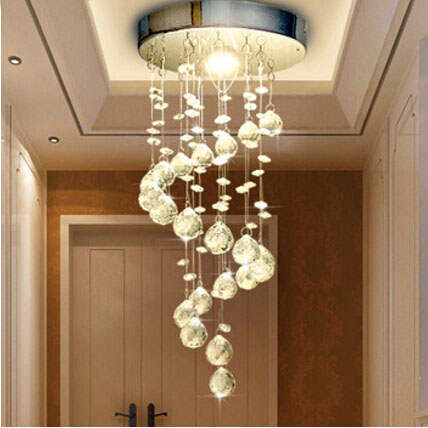 Us 33 49 33 Off Modern Spiral Crystal Chandelier For Home Entrance Stair Staircase Aisle Corridor Ceiling Hanging Lamp Home Decoration Led Lamp In
