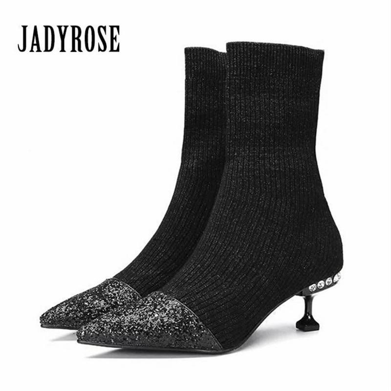 Jady Rose Black Women Elastic Stretch Ankle Boots Pointed Toe High Heels Paillette Knit Sock Botas Mujer Winter Warm Boot fashion kardashian ankle elastic sock boots chunky high heels stretch women autumn sexy booties pointed toe women pumps botas