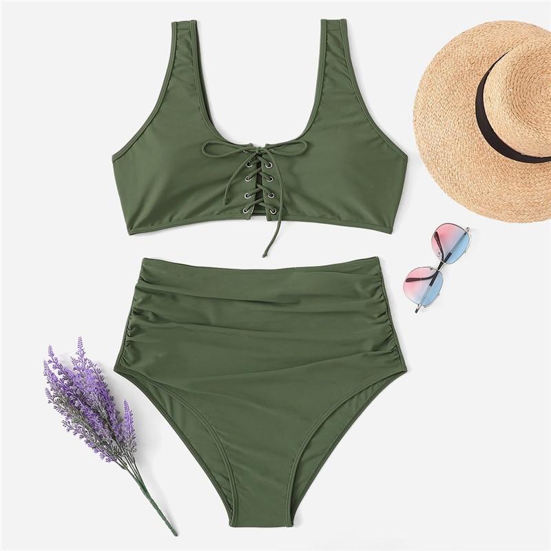 Army Green Plus Size Bikini With Chest Pad 4