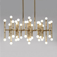 bamboo light modern luxury chandelier lamp gold color Stainless steel bamboo aluminium chandelier lighting