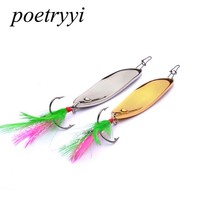 POETRYYI Metal Spinner Spoon  5.5CM 11G/15G   Fishing Lure Hard Baits Sequins Noise Paillette with Feather Treble Hook Tackle 30 цена в Москве и Питере
