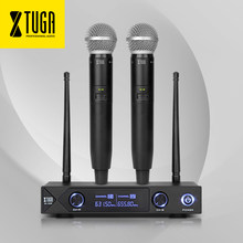 XTUGA audio Xiao Mi Phone Professional UHF A-100 2 Channel Cordless Microphone System UHF Wireless Karaoke party bar Quality(China)
