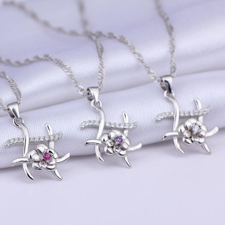 GUP44 женщин fine jewelry, 925 серебро цветок кулон, нежное колье к любимой леди