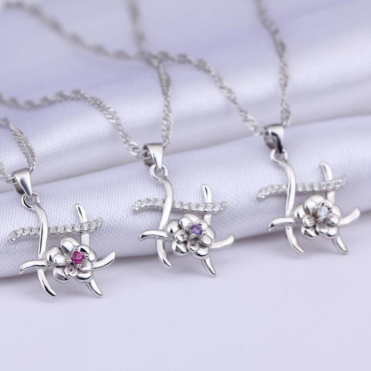 GUP44 femmes beaux bijoux, 925 en argent sterling pendentif fleur collier délicat à bien-aimée dame