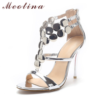 Woman Shoes 2016 Summer High Heels Sandals Luxury Party Pumps Sliver Wedding Shoes Glitter Ladies Sandals