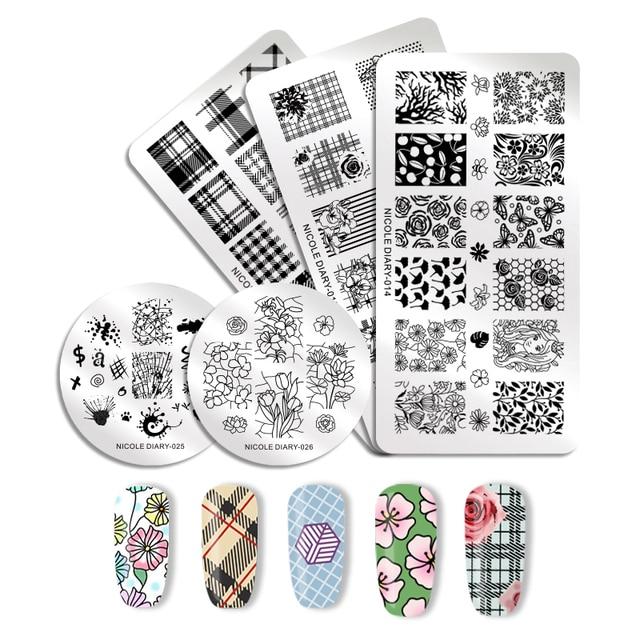 NICOLE DIARY Cuadrícula de Flores placas de estampado de uñas rectángulo ilusión redonda a cuadros imagen geométrica plantilla para impresión de uñas Plantilla de sello