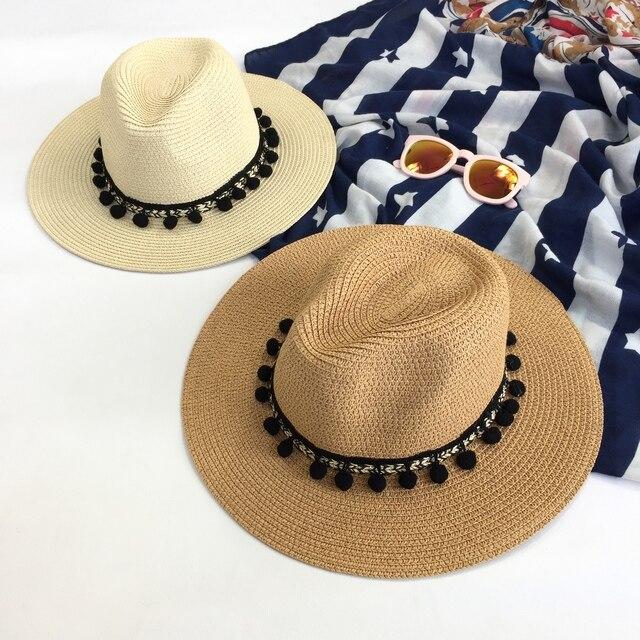 Borla bola de cabelo Mulher chapéu de palha chapéu de verão grande ao longo  da praia ebdd1d0d86b