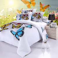 New 3D Butterfly Bedding Set Colorful Duvet Cover Sets Bed Sheets Pillowcases Queen Size Bedroom Textile