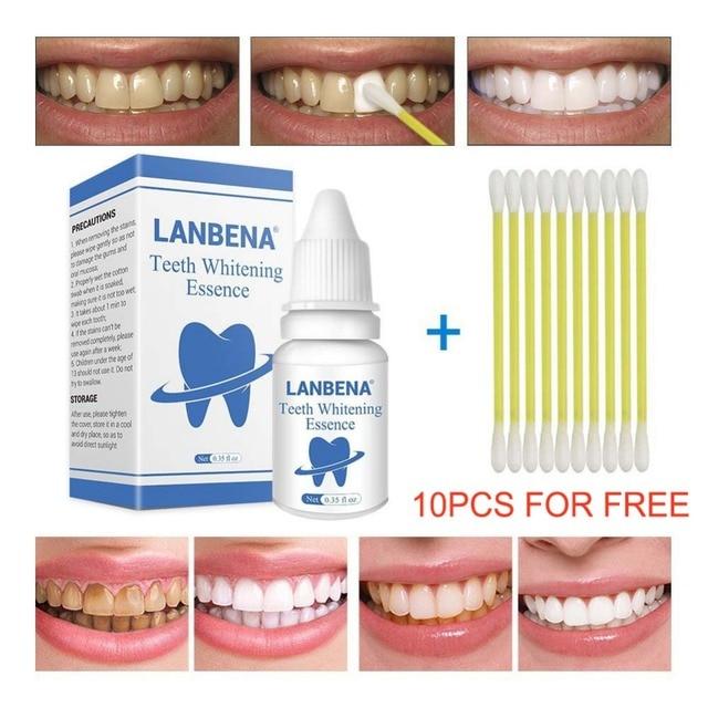 Lanbena Teeth Pemutih Esensi Bubuk Pembersih Oral Higiene Serum