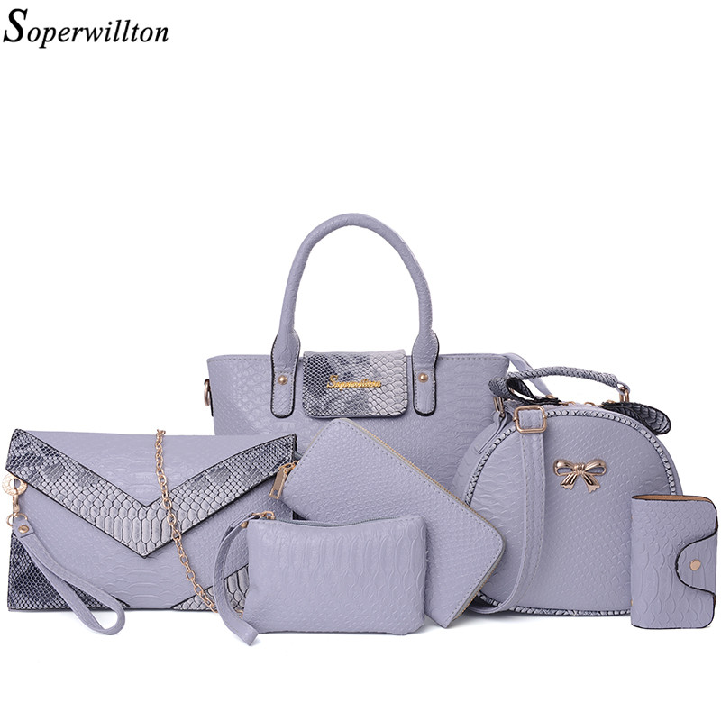 Soperwillton Brand 2017 Luxury Women Bag 6 Piece Set Alligator Panelled Serpentine Python Women Tote Lady Handbag Bag #SD711