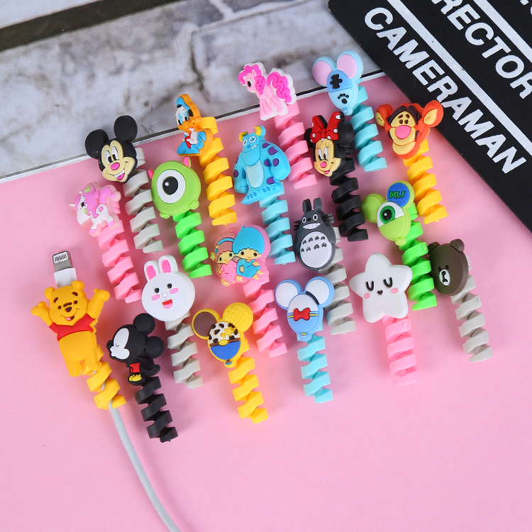 Spiral Cord Holder Cable Winder Cartoon USB Cable Earphone Protector Charging line saver For iphone cable protection