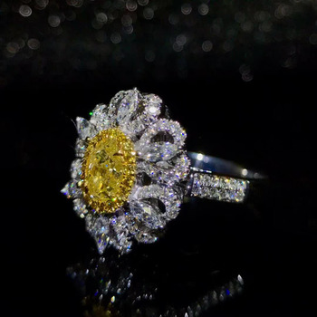gemstone jewelry factory wholesale classic luxury 18k white gold South Africa natural white yellow diamond ring for women 2