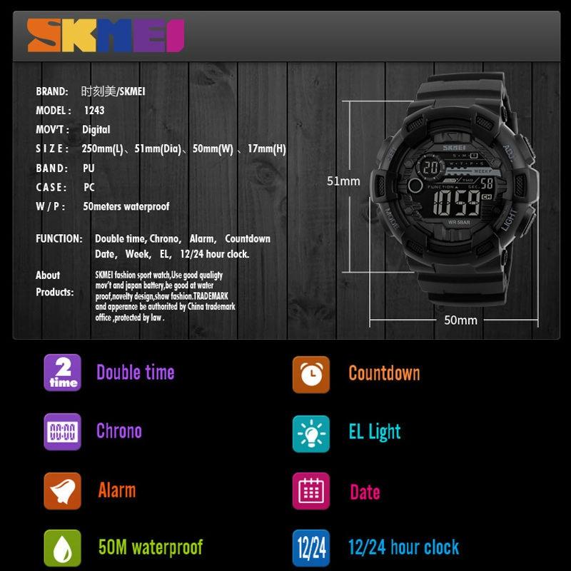 SKMEI Zegarek sportowy męski 50M wodoodporny podświetlany LED - Męskie zegarki - Zdjęcie 6