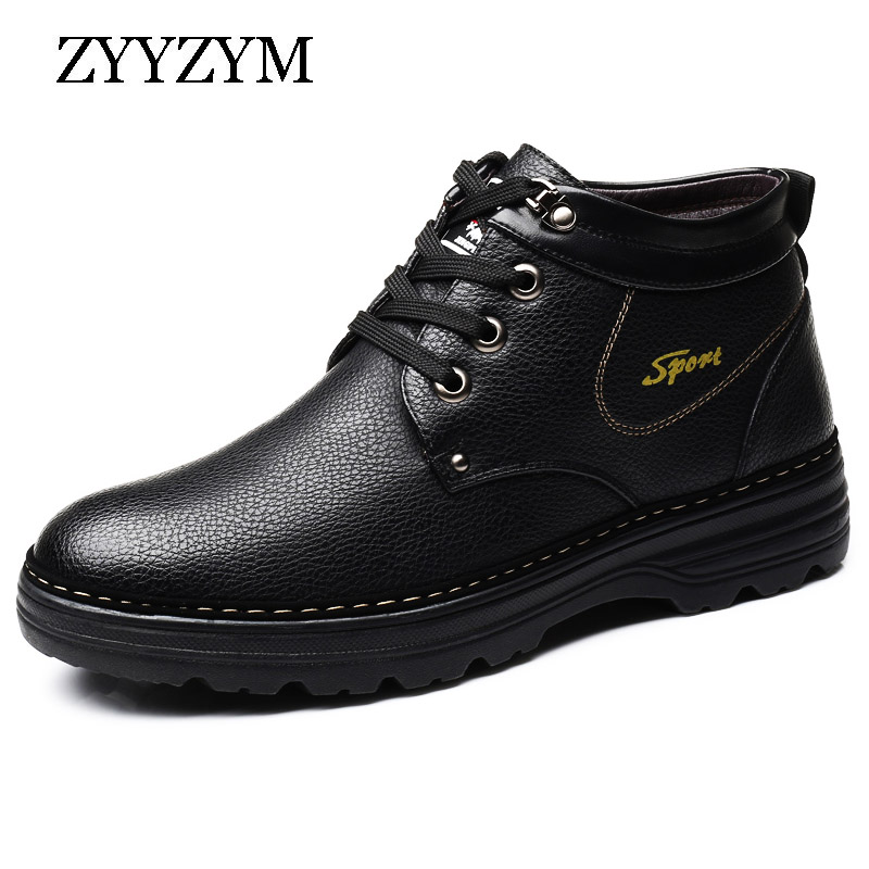 ZYYZYM Mens Boots EUR 38-47 Winter Lace Up Style Genuine Leather Snow Boots Ankle Plush Keep Warm Male Boots High Quality